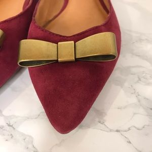 Madewell Shoes - Madewell Maroon Point Toe Bow Flats Shoes Size 7.5